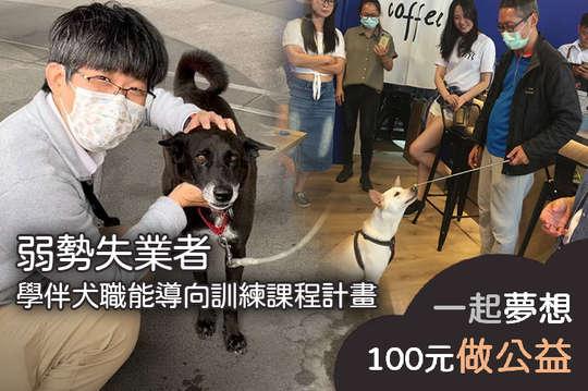 100元!【弱勢失業者學伴犬職能導向訓練課程計畫】增加弱勢就業機會,收容所流浪動物減量問題!