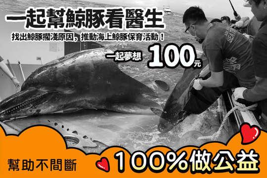 100元!【一起夢想-一起幫鯨豚看醫生】找出鯨豚擱淺原因,推動海上鯨豚保育活動!