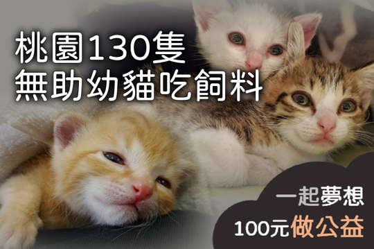 100元!【桃園130隻無助幼貓吃飼料】每月提供30包飼料給等待收容的130隻幼貓!