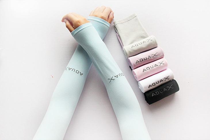 韓國AQUAX冰絲涼感防曬袖套 1雙起