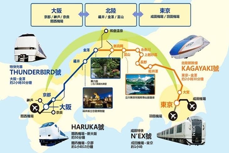 日本-JR PASS 北陸拱型鐵路周遊券