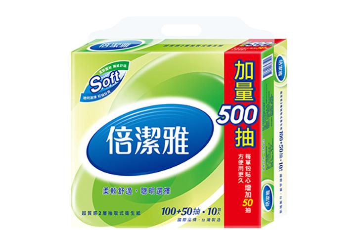 【倍潔雅】150抽質感抽取式衛生紙 60包