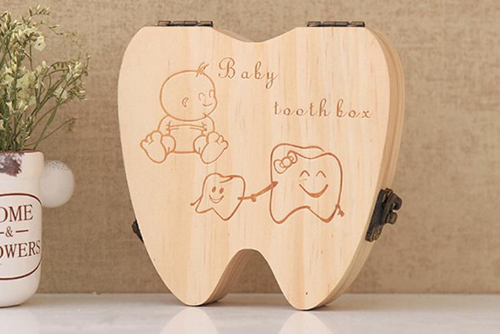 加厚牙齒造型嚴選松木乳牙盒臍帶胎毛收納盒 1入起