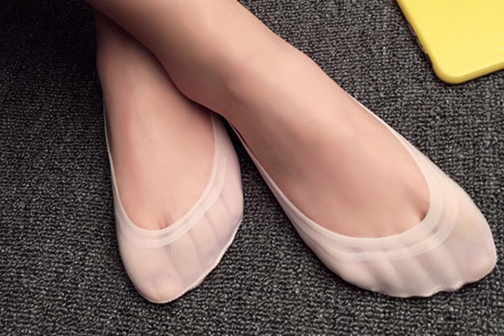 冰絲玫瑰矽膠防滑隱形襪 5雙起